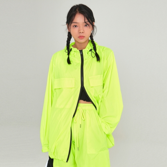 [COUCOU] W LIGHT WEIGHT ZIP-UP WINDBREAKER_LIME
