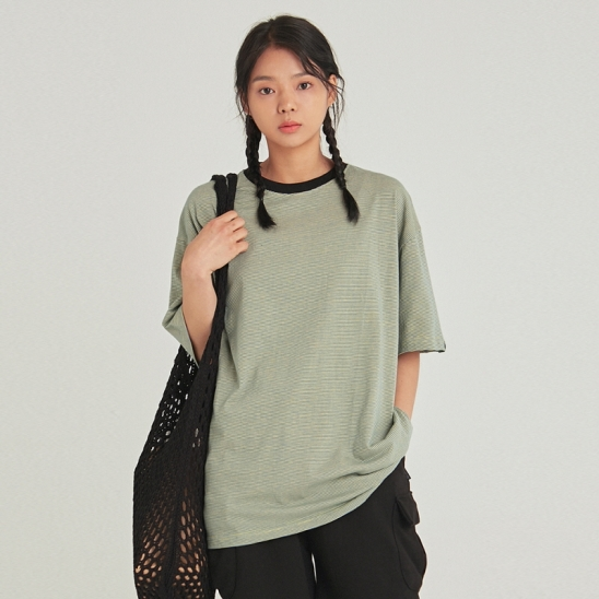 [COUCOU] W STRIPE RINGER HALF TEE_BLUE GREEN