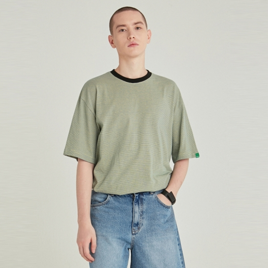 [COUCOU] STRIPE RINGER HALF TEE_BLUE GREEN