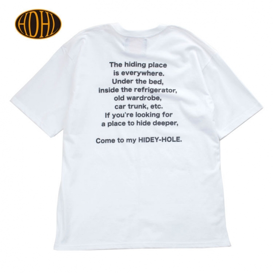hidey_hole LETTERING TEE_WHITE