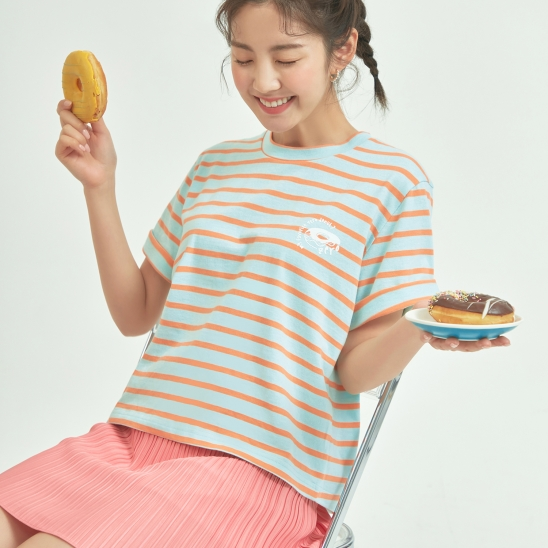 STRIPE DONUT PRINT T-SHIRT / ORANGE