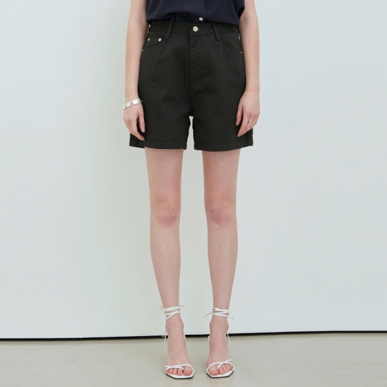 HIGH WIDE COTTON SHORT_CHARCOAL