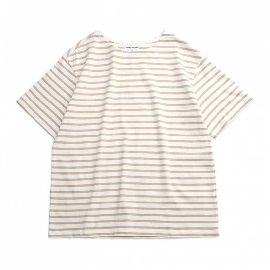 DAILY HALF STRIPED T-SHIRTS_BEIGE/IVORY