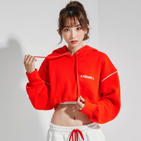 Oversize Line Point Crop Hoodie Red