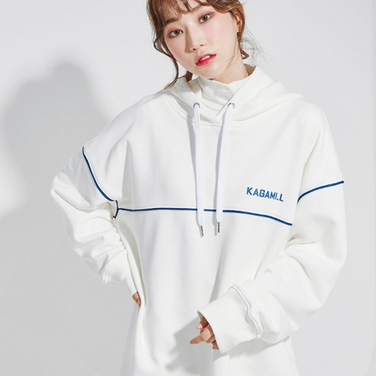Oversize Pront Line Hoodie White