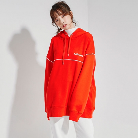 Oversize Pront Line Hoodie Red