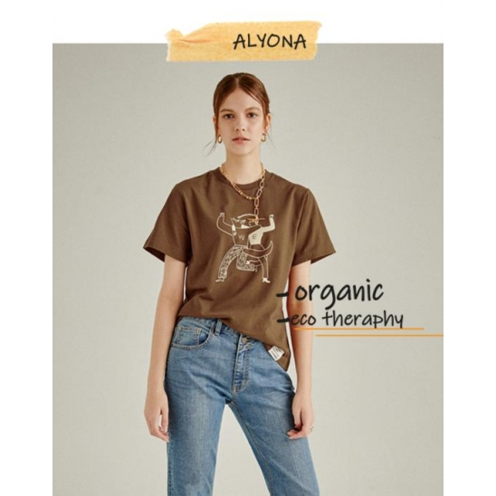 [kimsujin x a.t.corner] ORGANIC WE PRINT T-SHIRT BROWN