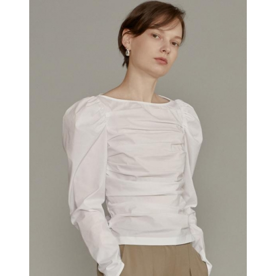 Ruched Puff-sleeve Blouse [WHITE]