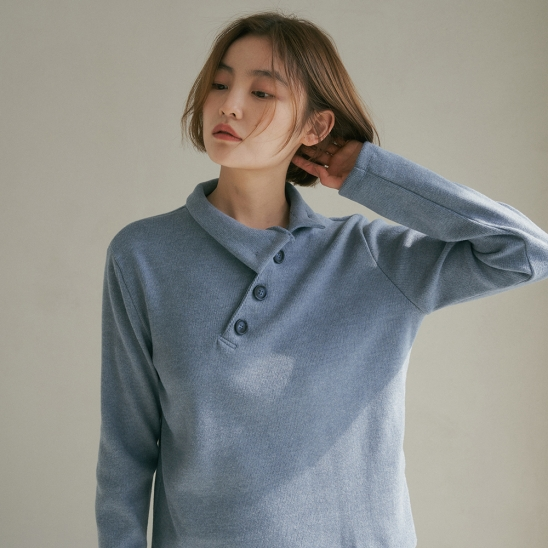 NOS BUTTON LONG SLEEVE PASTEL BLUE