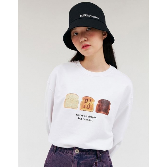 FRESH BREAD LONG SLEEVE T-SHIRTS_WHITE