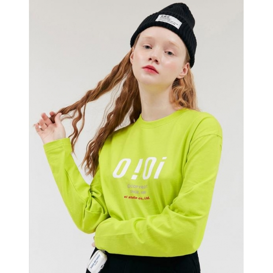 SIGNATURE LOGO LONG SLEEVE T-SHIRTS_LIME