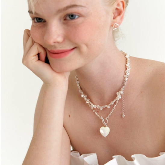 heart mother of pearl chain necklace (Silver 925)