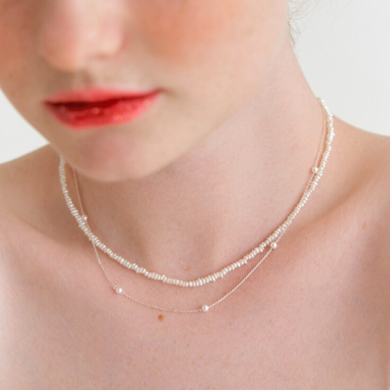 [SET] merry pearl layered necklace (Silver 925)