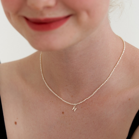 petit initial pearl necklace (Silver 925)