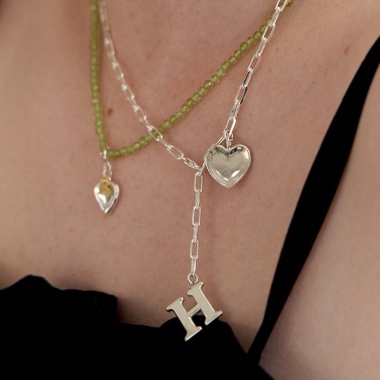 initial with 2way heart necklace (Silver 925)