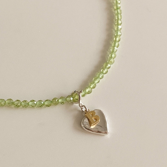 peridot 2way initial necklace (Silver 925)