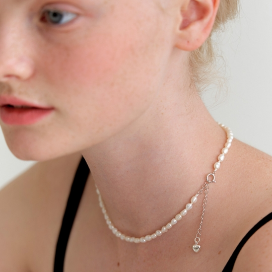 smooth pearl necklace (Silver 925)