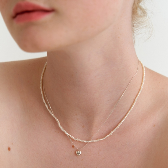 petit heart pearl necklace (Silver 925)