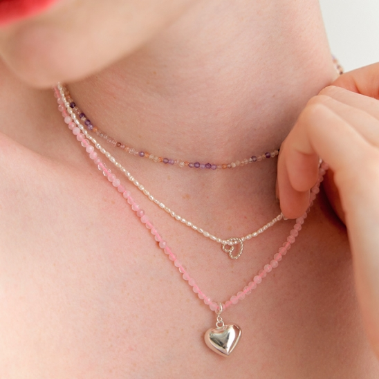 2way rosequartz heart necklace (Silver 925)