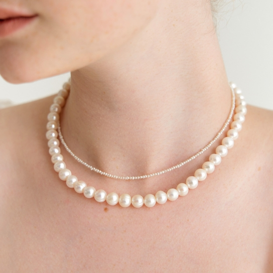gorgeous fresh water pearl necklace (Silver 925)