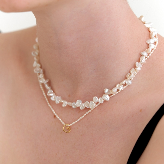 heart and pearl necklace (Silver 925)