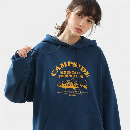 FISHING CLUB SIGN OVERFIT HOODIE CHT205 / 3color W