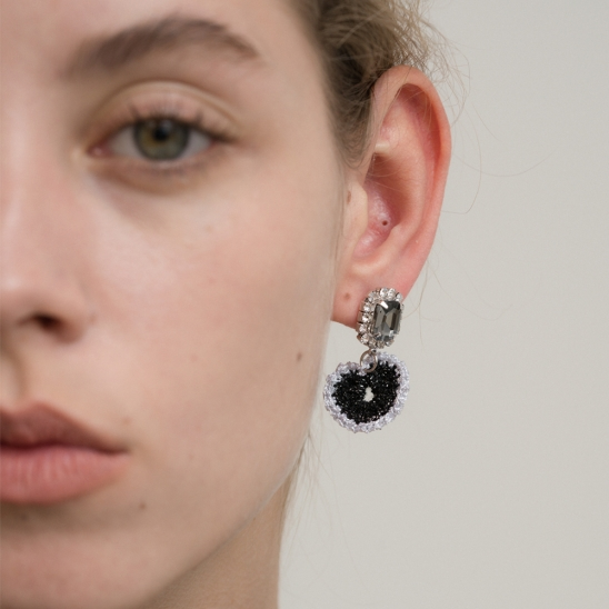Swallow with black lace heart earring