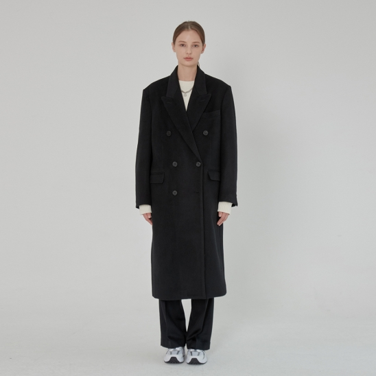 DOUBLE BREASTED WOOL LONG COAT BLACK