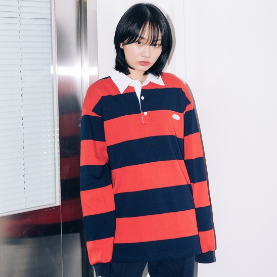 20 CLEAR LABEL BOLD STRIPE L/S TEE(RED)