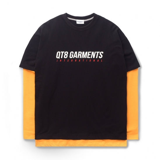 ND I.T Logo Layered Tee (Black/Orange)
