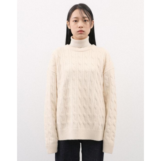 CABLE KNIT PULLOVER CREAM