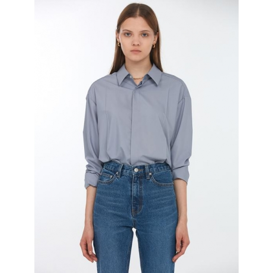 UNISEX CREASE SOFT SHIRT GREYISH BLUE