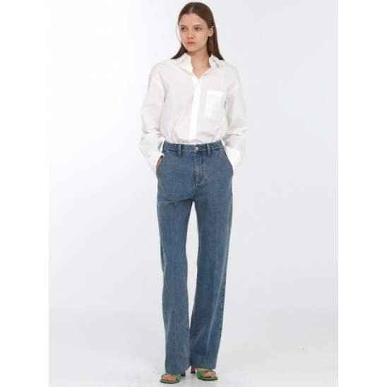 RELAXED STRAIGHT SLACK JEANS MID BLUE