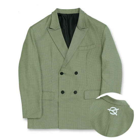 OVERSIZE CHECK DOUBLE BLAZER-OLIVE GREEN