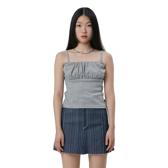 C GLITTER SHIRRING SLEEVELESS TOP_GREY