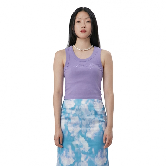 C RIBBED EMBROIDERY TANK TOP_LIGHT VIOLET