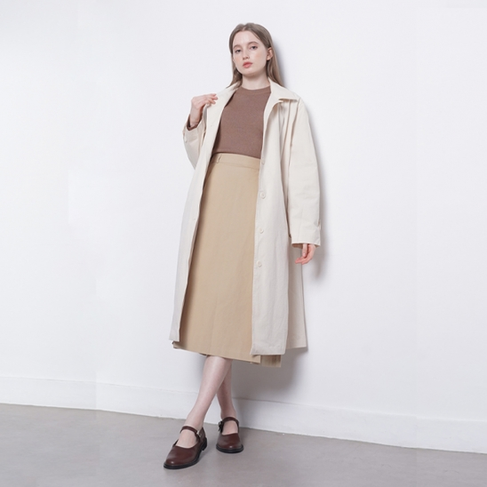 W10 cotton trench coat ivory
