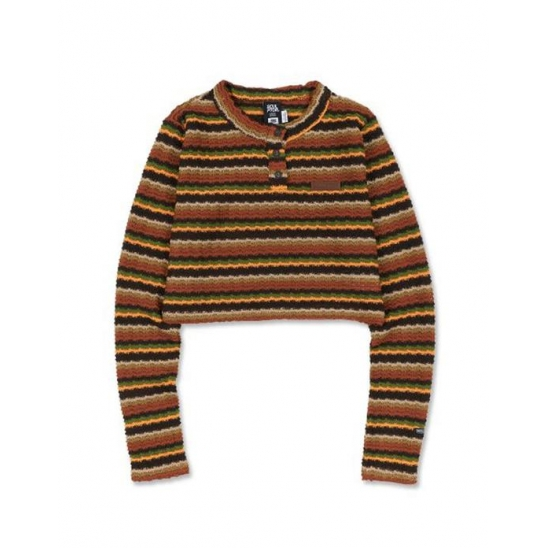 [SSS] Stripe Knit Crop Top [MULTI BROWN]
