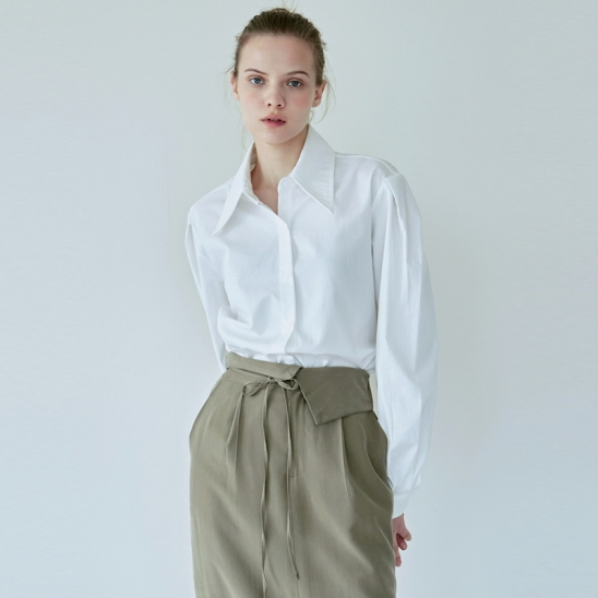WIDE COLLAR COTTON SHIRT_IVORY
