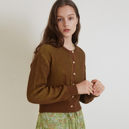 A TWO-TONE KNIT CD_BROWN