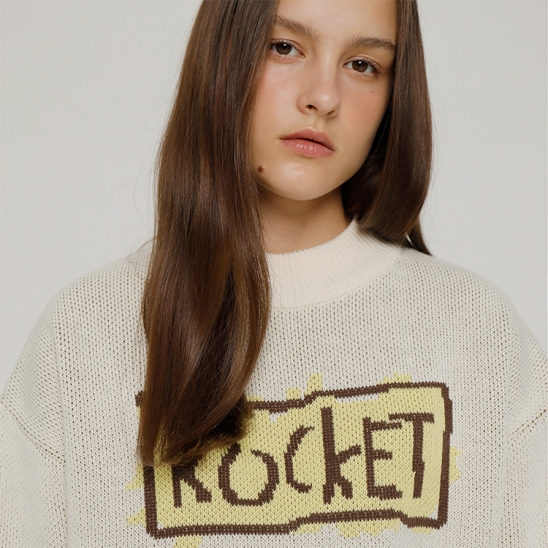 R ROCKET HAND DRAWING KNIT TOP_CREAM