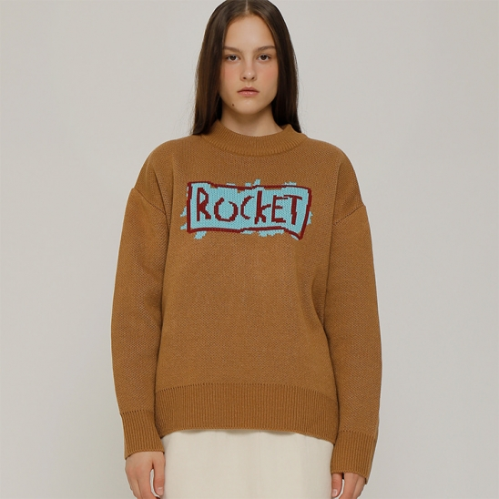 R ROCKET HAND DRAWING KNIT TOP_BROWN