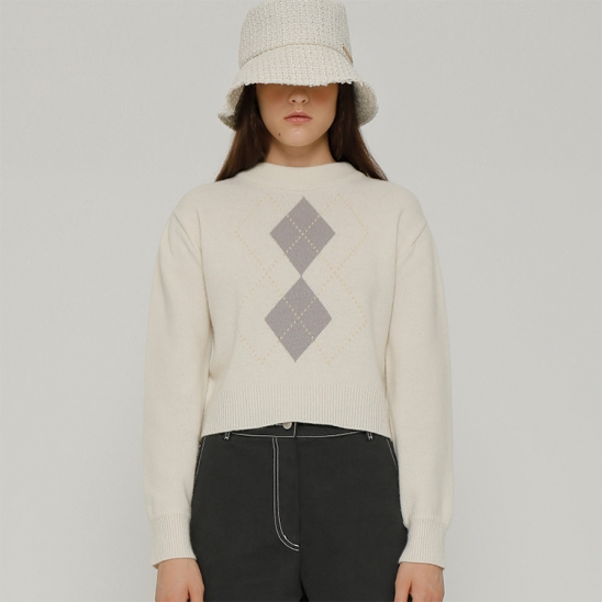 R PUFF SLEEVE ARGYLE KNIT TOP_IVORY