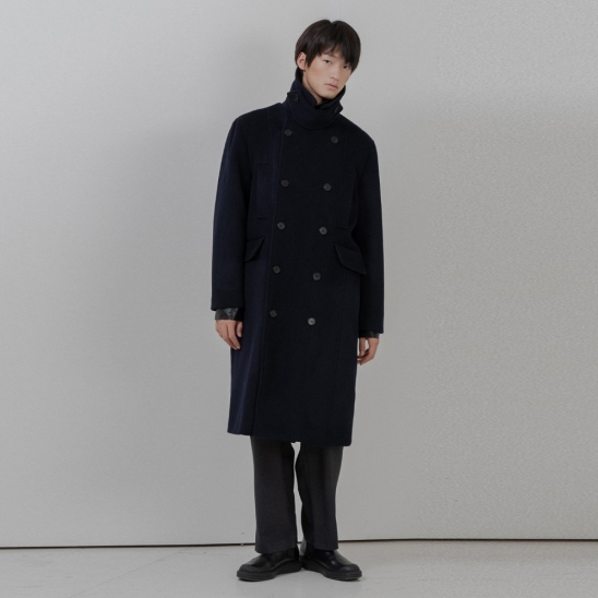 BF two pocket double coat navy