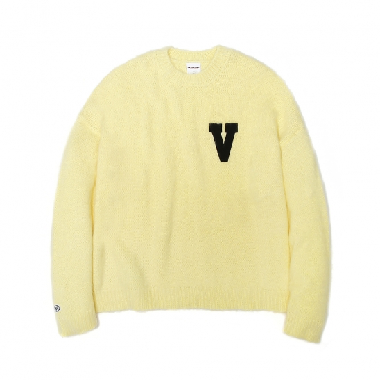 LOGO PATCHED MOHAIR CROPPED KNIT SWEATER LIME