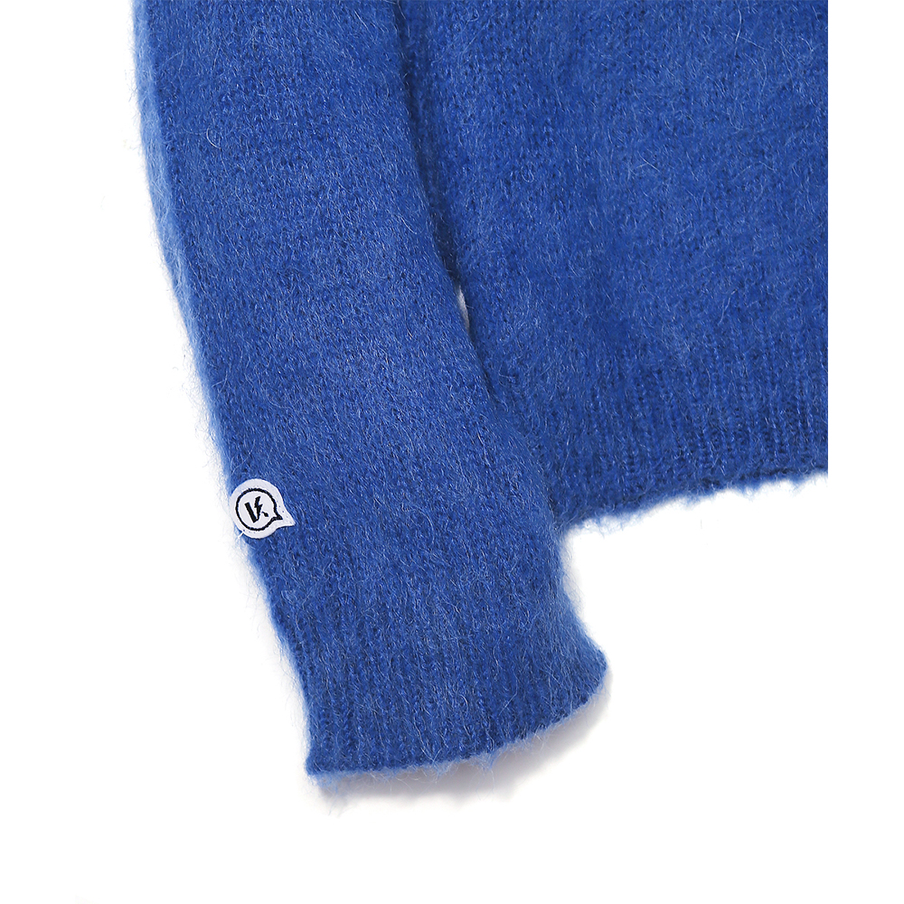 LOGO PATCHED  MOHAIR CROPPED KNIT SWEATER ROYAL BLUE