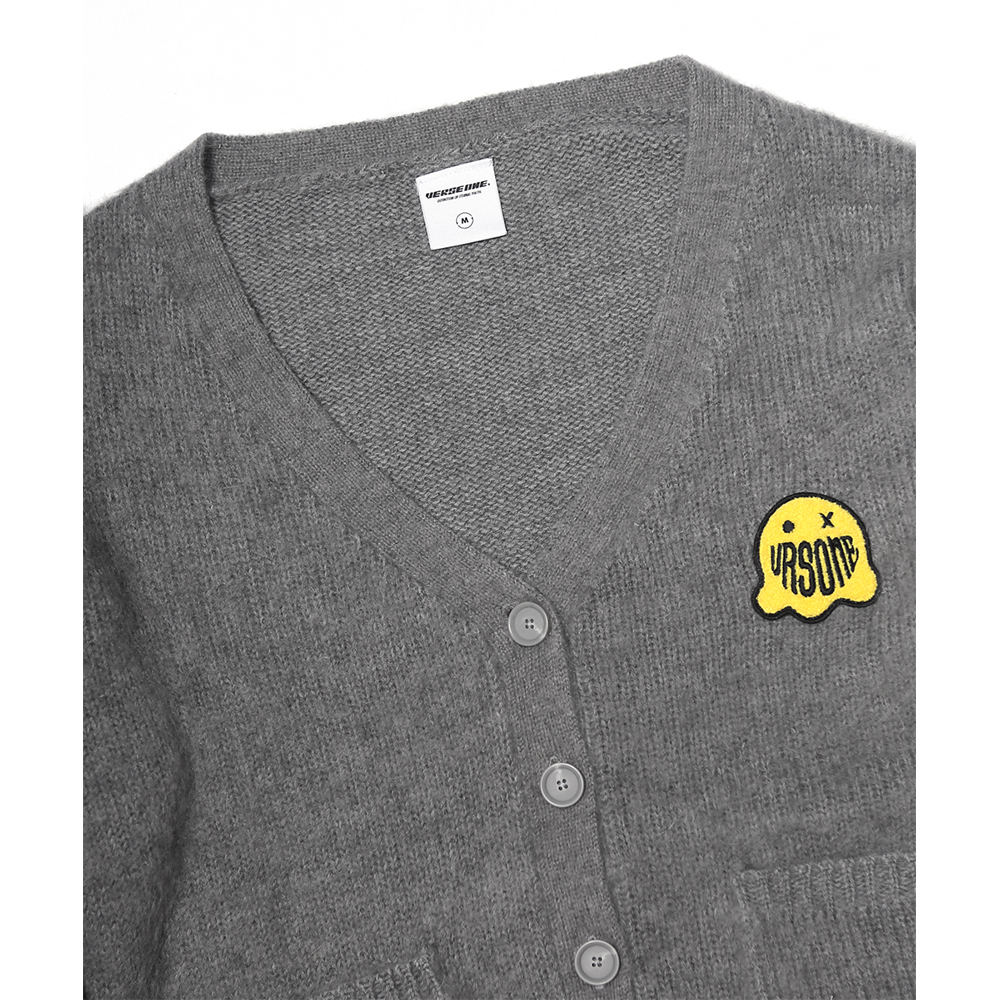 GHOST PATCHED MOHAIR CARDIGAN HEATHER GREY
