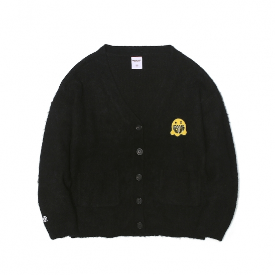 GHOST PATCHED MOHAIR CARDIGAN BLACK