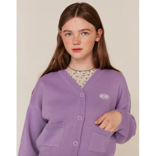 RUBBER LABEL CROP CARDIGAN_PURPLE