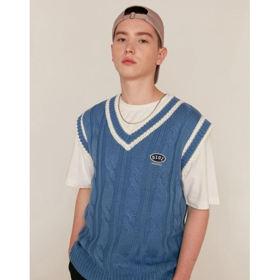 LOGO TWIST KNIT VEST_BLUE